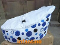 Wholesale blue circle dots with white belt seat baby bean bag chair