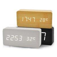 Wholesale Hot Electronic Desktop Digital Table Clocks Upgraded LED Alarm Clock Despertador Temperature Sounds Control LED Display