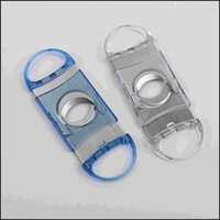 Wholesale 2015 Plastic Stainless Steel x3 cm Cigar Cutter Blade High Quality Transparent Pocket Size Knife A005