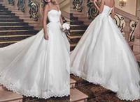 al por mayor peplum vestido hecho de porcelana-Vestidos de boda de la vendimia 2016 con el lazo Boho del Applique una línea Vestidos de Novia tren de barrido hechos en los vestidos de boda nupciales del peplum de China