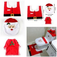 toilet seat covers - XMAS Santa Toilet Seat Cover Rug Bathroom Mat Set Toilet Tank Cover Kleenex Cover set Christmas Decorations