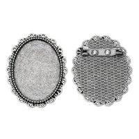 aqua cabochons - Fashion Jewelry Brooches Fit x30mm Cabochons Silver Tone Lace Hollow x3 cm Women