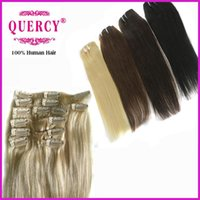 Wholesale Clips in hair extensions straight Indian Malaysian Peruvian virgin hair human hair bundle B clips set g set off Quercy Hair