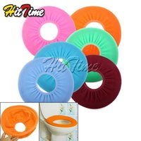 Cheap 2Pcs lot Bathroom Warmer Toilet Washable Cloth Seat Cover Pads #3391