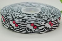 Cheap hot 7 8'' Free shipping skull moster heat transfer printed grosgrain ribbon bow diy party decoration custom wholesale 22mm P310 M65137