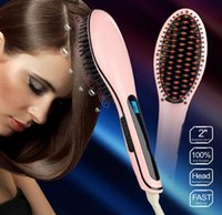 electric comb - LCD Hair straightener Comb Electric Heating Straightener Titanium Plates Flat Iron Straightening Irons Brush Styling Tools
