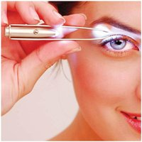 Wholesale 500pcs Make Up Led Light Eyelash Eyebrow Hair Removal Stainless Steel Tweezer