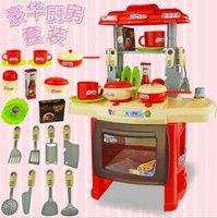 Wholesale Mini Kitchen Every Family Playsets Simulation Tableware Baby Toys For Children Cooking Utensils Dining Table Set Kitchens Play Food