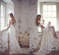 beach ribbon - Lace Wedding Dresses By Anna Campbell Sexy Deep V Neck Off The Shoulder Cap Sleeves Backless Beach Wedding Gowns Bridal Dresses Sweep Train