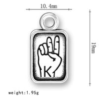 asl american - A Antique Silver Plated Metal Sign Initial K ASL Tag American Sign Language Charms Jewelry