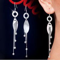 Cheap 925 Sterling Silver Long Leaf Snake Chain Tassel Wedding Drop Earring Statement Earring Dangle Chandelier