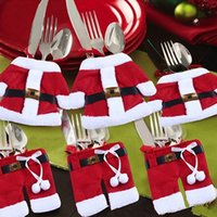 Wholesale Hot Santa Claus Cutlery Holder Utensil Bags Fork Spoon Knife Pockets Christmas Decor