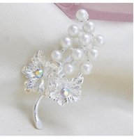 Cheap Brooches Rhinestone Flowers Fruit Pearl Pins 16 Different Styles Brooch 2pcs lot free ship