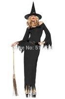 adult witch hats - w1031 Adult Sexy Vintage Halloween Mistress of Darkness Witch Costume Cosplay with hat for women Night Club gown wear party dress kit