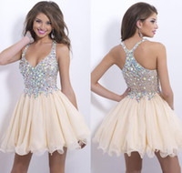 best homecoming dress - 2014 Best selling new arrival sexy halter cocktail party dresses sparkly sequins beaded crystals backles short prom homecoming gowns BO9857