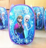 Wholesale Hot Sale Cartoon Frozen Folding Laundry Basket Anna Elsa Printed Clothing Racks Laundry Bags Housekeeping Storage Bags M2752