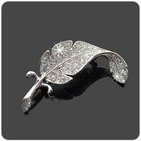 Wholesale Nice Fashion Korean Jewelry Vintage Silver Plated Rhinestone Leaf Brooch Pin Crystal Brooches SH002