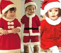 Wholesale 2016 Girls Boys Kids Christmas Santa Claus dress clothes Warm Dresses With Hats Lovely Long Sleeves Cosplay MYF101602