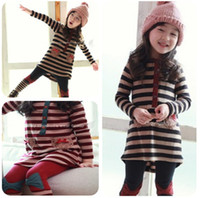 america suit - Europe and America girls striped suit children spring long sleeved t shirt leggings pant girl striped dress set Bow legging