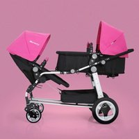 Wholesale Factory Direct Cheap Twins Stroller Green Red Pink High Quality Pushchair For Baby Years Old Aluminum Alloy Frame
