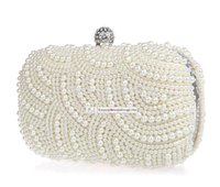 Wholesale Sparkly Shining Lastest Crystal Peals Bridal Hand Bags with Chain Women Wedding Evening Prom Party Bags Bridesmaid Bags MYF81