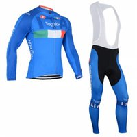 Wholesale hot sale blue Cycling Clothling Long Sleeve Jersey Cycling Bib pants Autumn team racing sports wear Jersey and Bib pants long suits