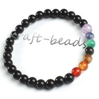Wholesale Charm natural The black agate precious stone Round Shape Beads Stone chakra healing Bracelets Jewelry Gift