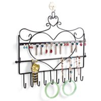 Wholesale Wrought iron wall mounted frame earring necklace holder bronze accessories storage rack jewelry plaid display rack