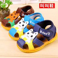 baby sound shoes - 2015 summer new cute animal cat Jiao Jiao baby sandals kitten cartoon toddler shoes With sounds making function colors
