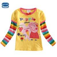 long sleeve yellow t-shirts - Yellow T shirt for Girls Baby Girl T shirt Cartoon Pig Printing T shirt for Kids Children Wear Nova New Arrival Long Sleeve F4109
