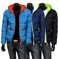 Wholesale 2016 New Mens Winter Jacket Men s Hooded Wadded Coats Outerwear Male Slim Casual Cotton Outdoors Outwear Down Jackets Hot Sale