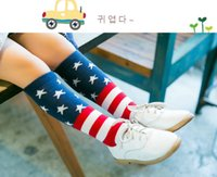 Wholesale American Flag Cotton Stars Stripes USA Socks for Baby Kids Brand New Good Quality