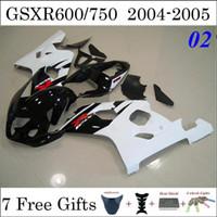 GSXR600 GSXR750 Kits Carenado para Suzuki 2004 2005 04 05 Negro Blanco brillante Custom Painting Carrocería Racing Carenado 7 regalos