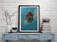 artist play - Professional Artist Handmade High Quality Impression Little Girl Playing Swing Oil Painting On Canvas For Daught Birthday Gift