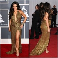 Cheap New Kim Kardashian Celebrity Dresses Floor Length Halter Red Carpet Dresses Sequined Long Mermaid Evening Dress Gold Party Dress Evening