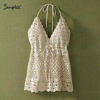 Wholesale women lace crop top deep v neck halter top spaghetti strap tank tops lace colete croche white sexy crop top large size SH014