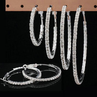 Wholesale Top Grade Silver Hoop Stud Earring Hot Sale mm size Fashion Fashion Crystal Earrings For Women Girl WH