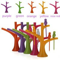 Wholesale Cre ative Fashion Tree Birds Design Plastic Fruit Forks Home Kitchen Fruit Tools Stand And Forks Cutlery