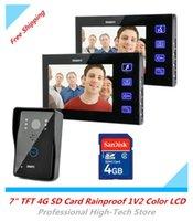 Wholesale 7 quot TFT Hands Free Video Intercom Door Bell Doorbell IR Night Vision Touch Key G SD Card Rainproof V2 LCD Video Door Phone