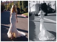 inbal dror - Inbal Dror Mermaid Hi Lo Lace Wedding Gowns Bridal Dresses Sweetheart Low Front Long Back Cathedral Train Vestidos de Novia Bridal Gown