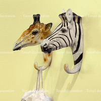Wholesale Creative Three dimensional resin animal head style hanger wall mouted stickers hat cloth hook for home decoration