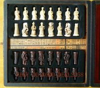 asian board games - Chinese A set of Asian old chess pieces board box game