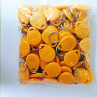 Wholesale 100pcs RFID Proximity LF Khz EM yellow ID Cards KeyTags Keyfobs with EM4100 TK4100 Chip for Access Control