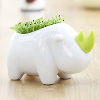 Wholesale New Lovely Storage Office Potting Decor Creative Desktop Planting Rhinoceros Home Decoration order lt no track