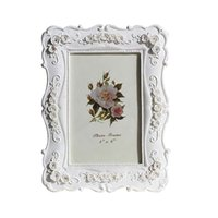 Wholesale 7inch White roses creative photo frames pastoral style Resin Photo Frame Photo CM Artificial painting