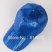 baseball cap hooks - Adjustable Hook Loop Fastener Blue Sequins Detailing Baseball Cap for Woman