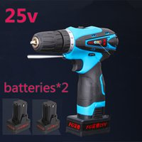 Wholesale new Lithium drill V two speed charge Cordless electric drill hammer household hand electric screwdriver tools sets Batteries