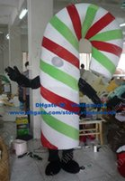 Cheap Cute Colourful Xmas Christmas Candy Cane Walking Stick Crutch Mascot Costume With Curve Red Green White Body No.4722 FS