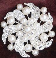 asian wedding cakes - 2015 cm Sparkly Clear Rhinestone Crystal Pearls Diamante Flower Pins Wedding Cake Bouquet Pin Brooch