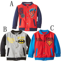 Jackets baseball fever - New Children s Clothes Fever Autumn Winter Sport Clothing Superman Batman Coat Fashion Casual Cardigan Thick Terry Baseball Jersey